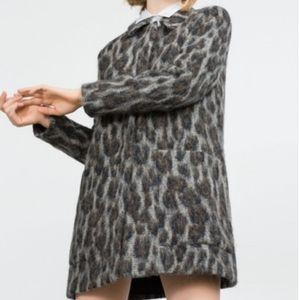 Zara Gray Leopard Alpaca Wool Pea Coat Jacket XS